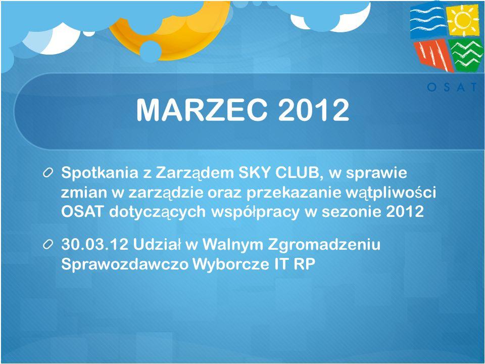 MARZEC 2012 Spotkania z Zarz ą dem SKY CLUB, w sprawie zmian w zarz ą dzie oraz przekazanie w ą tpliwo ś ci OSAT dotycz ą cych wspó ł pracy w sezonie