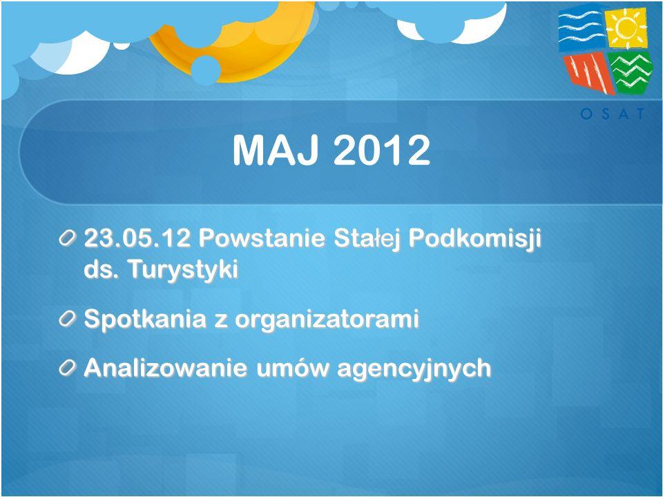 MAJ 2012 23.05.12 Powstanie Sta łe j Podkomisji ds. Turystyki Spotkania z organizatorami Analizowanie umów agencyjnych