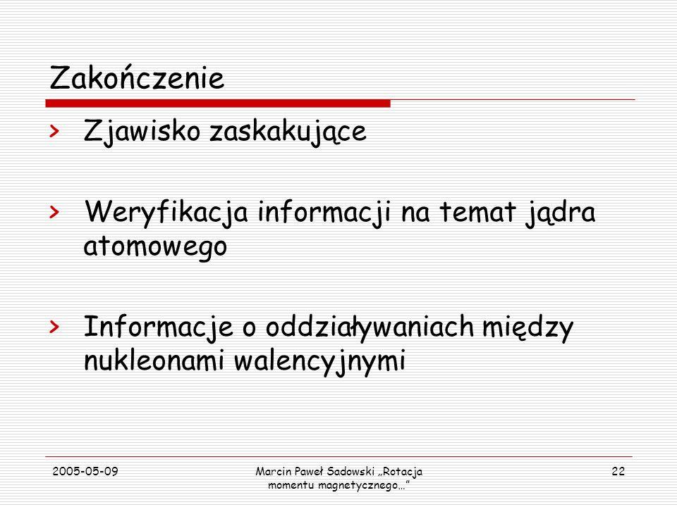 2005-05-09Marcin Paweł Sadowski Rotacja momentu magnetycznego… 22 Zakończenie >Zjawisko zaskakujące >Weryfikacja informacji na temat jądra atomowego >