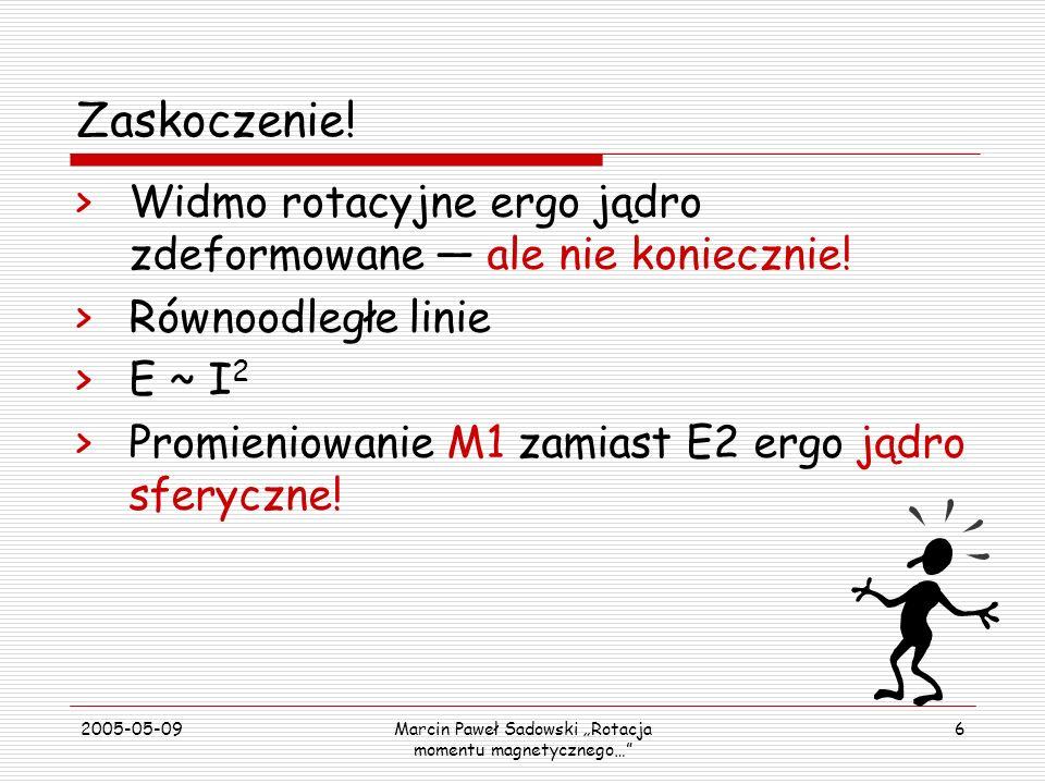 2005-05-09Marcin Paweł Sadowski Rotacja momentu magnetycznego… 6 Zaskoczenie! >Widmo rotacyjne ergo jądro zdeformowane ale nie koniecznie! >Równoodleg