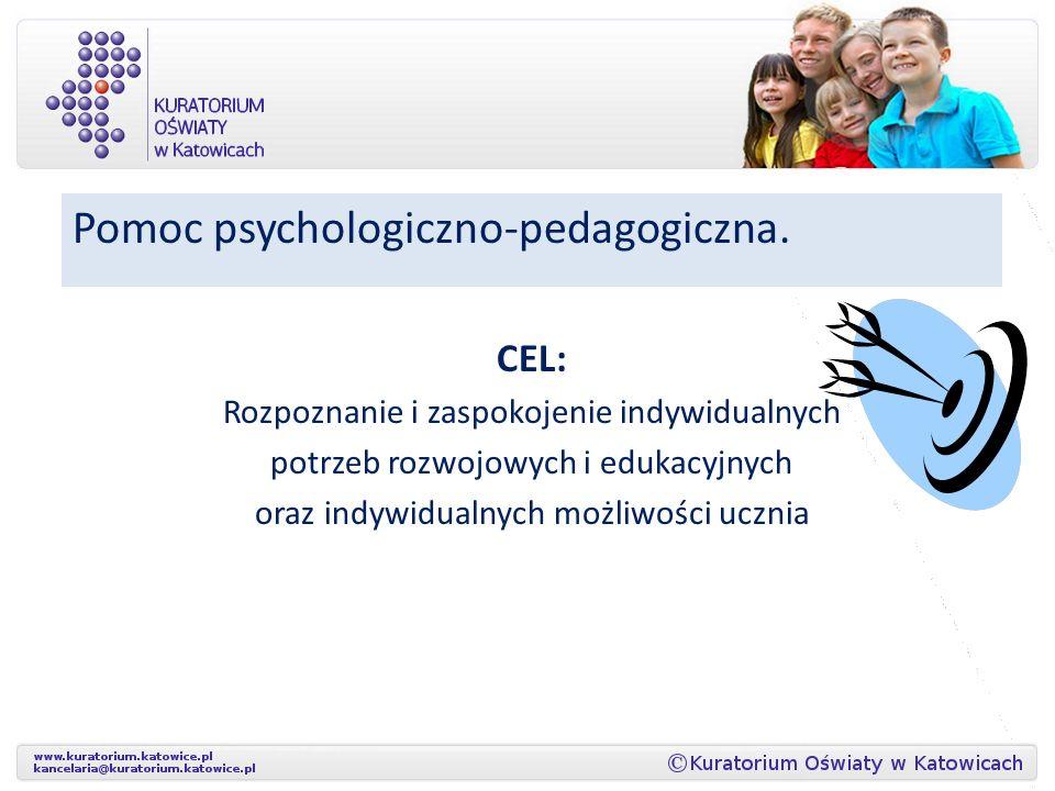 Pomoc psychologiczno-pedagogiczna. CEL: Rozpoznanie i zaspokojenie indywidualnych potrzeb rozwojowych i edukacyjnych oraz indywidualnych możliwości uc