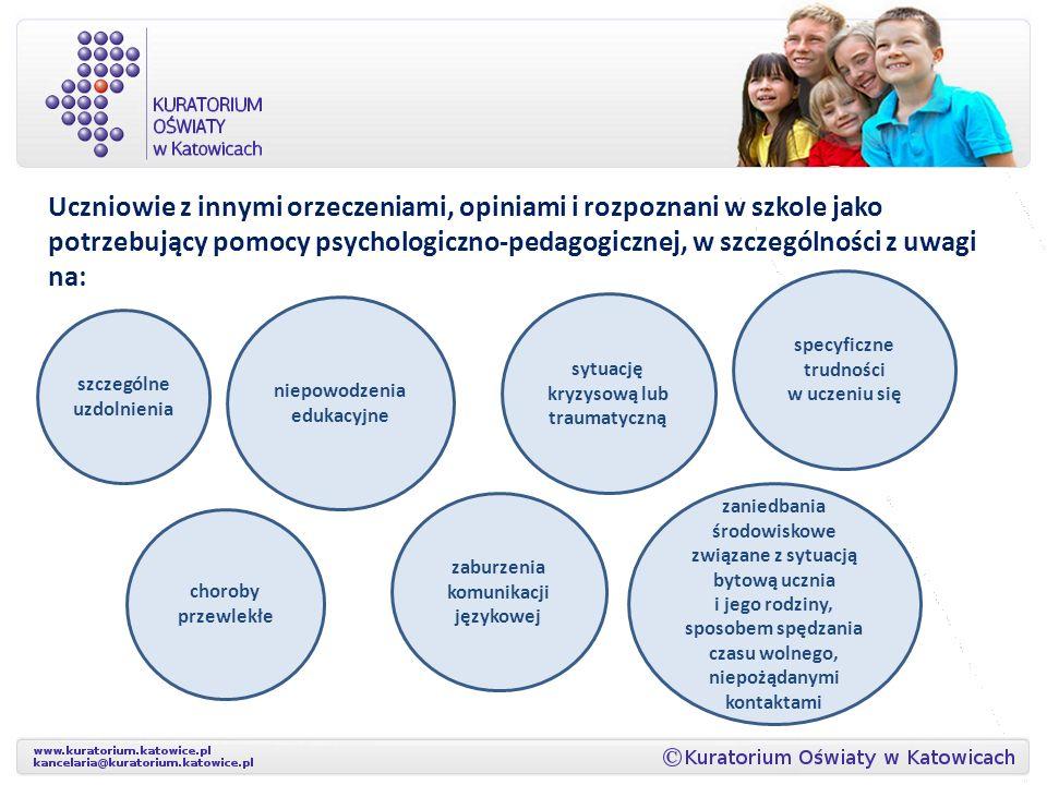 Uczniowie z innymi orzeczeniami, opiniami i rozpoznani w szkole jako potrzebujący pomocy psychologiczno-pedagogicznej, w szczególności z uwagi na: szc