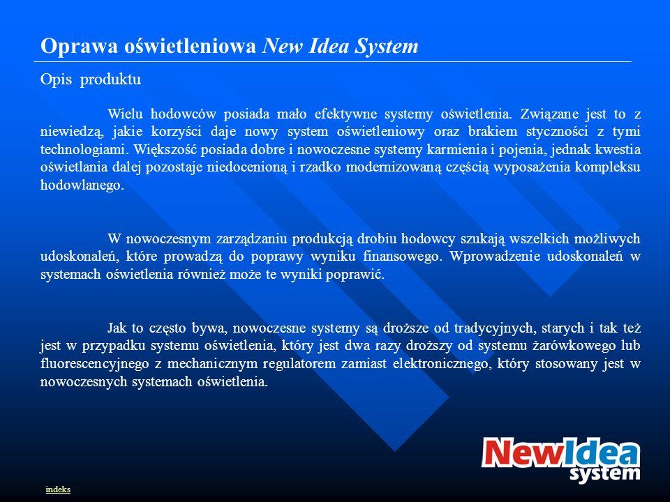 Oprawa oświetleniowa New Idea System Opis produktu Wielu hodowców posiada mało efektywne systemy oświetlenia.