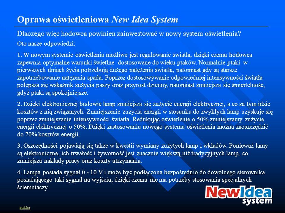 Oprawa oświetleniowa New Idea System Dlaczego więc hodowca powinien zainwestować w nowy system oświetlenia.
