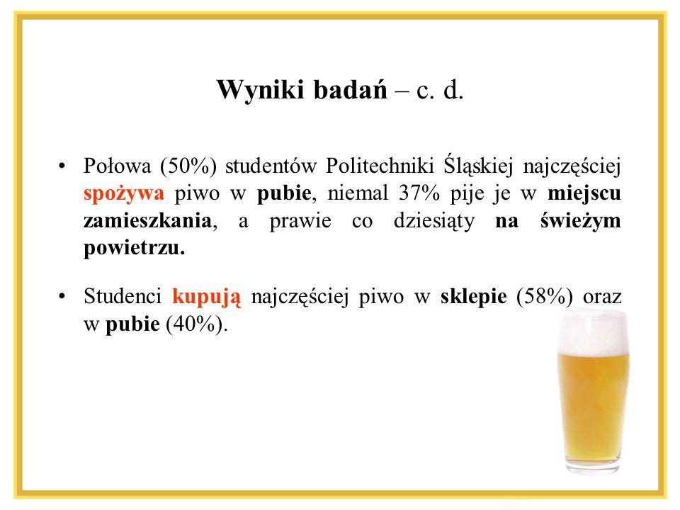 Wyniki badań – c. d. Połowa (50%) studentów Politechniki Śląskiej najczęściej spożywa piwo w pubie, niemal 37% pije je w miejscu zamieszkania, a prawi