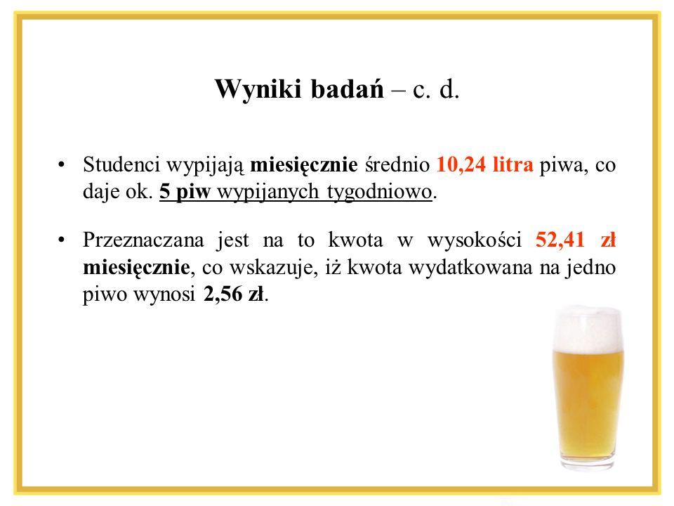 Studenci wypijają miesięcznie średnio 10,24 litra piwa, co daje ok. 5 piw wypijanych tygodniowo. Przeznaczana jest na to kwota w wysokości 52,41 zł mi