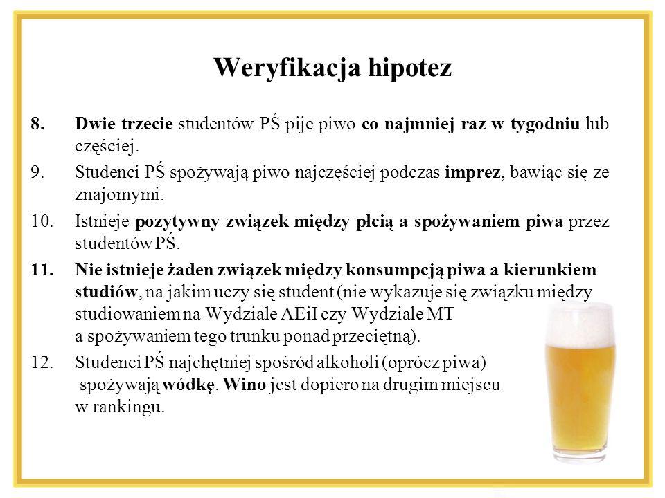 8.Dwie trzecie studentów PŚ pije piwo co najmniej raz w tygodniu lub częściej. 9.Studenci PŚ spożywają piwo najczęściej podczas imprez, bawiąc się ze