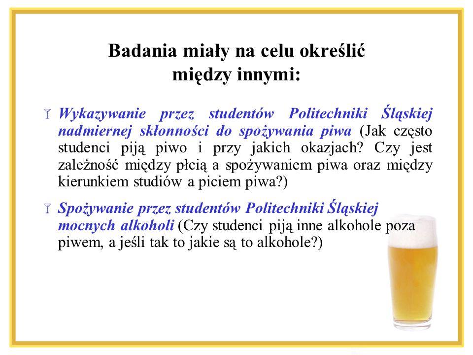 Wykazywanie przez studentów Politechniki Śląskiej nadmiernej skłonności do spożywania piwa (Jak często studenci piją piwo i przy jakich okazjach? Czy