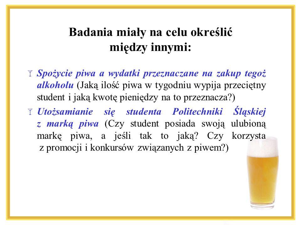 Spożycie piwa a wydatki przeznaczane na zakup tegoż alkoholu (Jaką ilość piwa w tygodniu wypija przeciętny student i jaką kwotę pieniędzy na to przeznacza?) Utożsamianie się studenta Politechniki Śląskiej z marką piwa (Czy student posiada swoją ulubioną markę piwa, a jeśli tak to jaką.