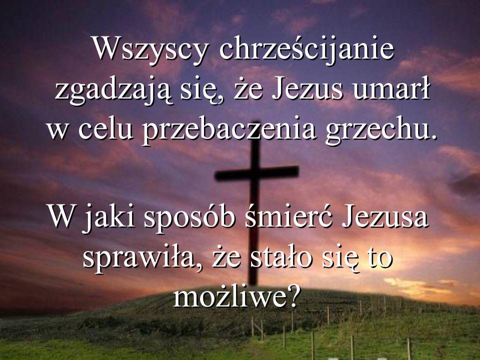 Wszyscy chrześcijanie zgadzają się, że Jezus umarł w celu przebaczenia grzechu. W jaki sposób śmierć Jezusa sprawiła, że stało się to możliwe?