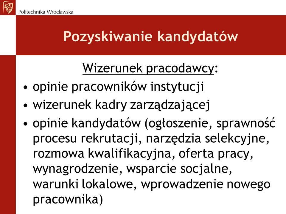 Pozyskiwanie kandydatów Wizerunek pracodawcy: opinie pracowników instytucji wizerunek kadry zarządzającej opinie kandydatów (ogłoszenie, sprawność pro