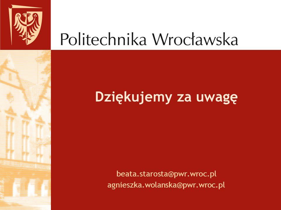 Dziękujemy za uwagę beata.starosta@pwr.wroc.pl agnieszka.wolanska@pwr.wroc.pl