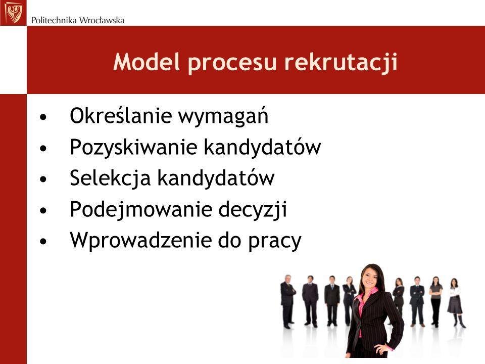 Model procesu rekrutacji Określanie wymagań Pozyskiwanie kandydatów Selekcja kandydatów Podejmowanie decyzji Wprowadzenie do pracy