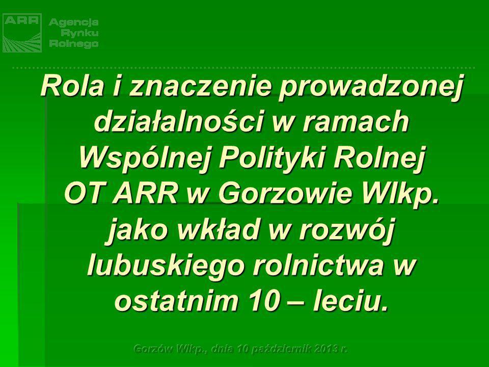 Rola i znaczenie prowadzonej działalności w ramach Wspólnej Polityki Rolnej OT ARR w Gorzowie Wlkp. jako wkład w rozwój lubuskiego rolnictwa w ostatni