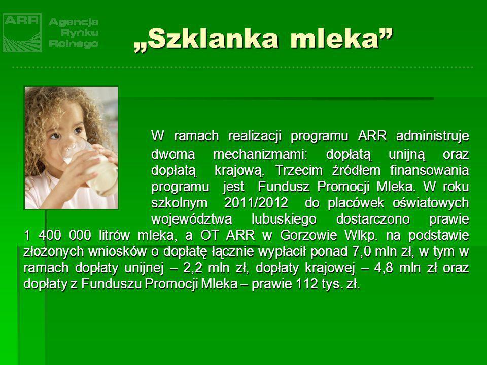 Szklanka mleka W ramach realizacji programu ARR administruje dwoma mechanizmami: dopłatą unijną oraz dopłatą krajową. Trzecim źródłem finansowania pro