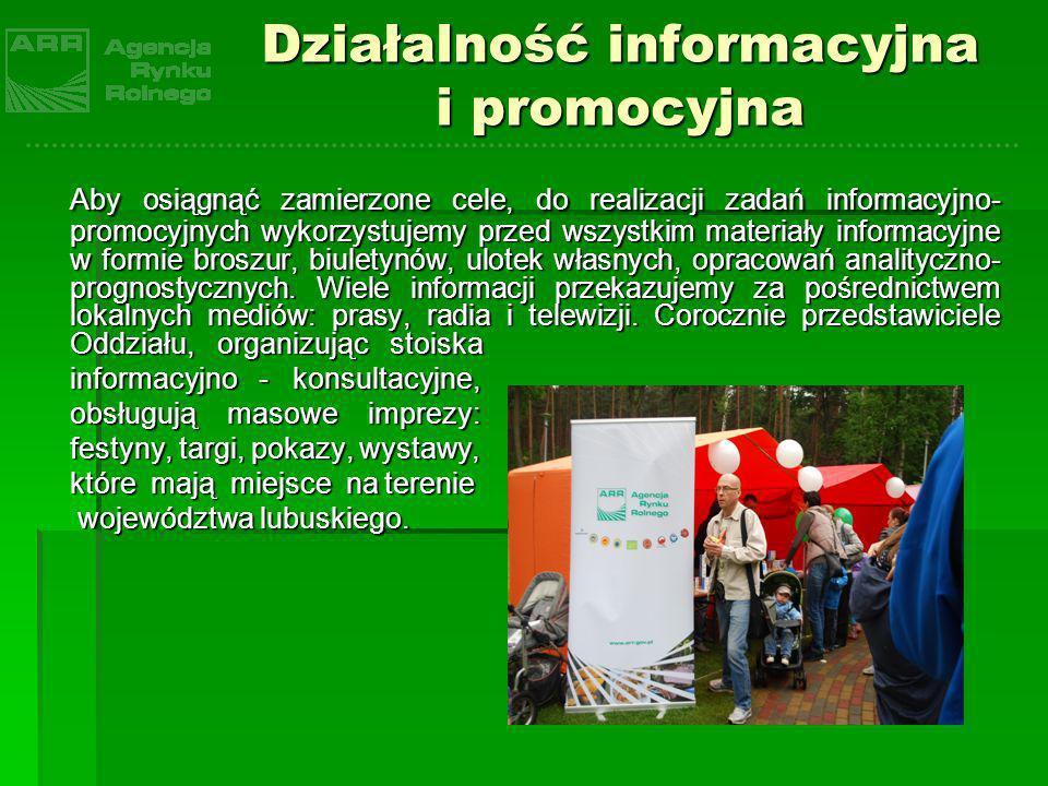 Działalność informacyjna i promocyjna Aby osiągnąć zamierzone cele, do realizacji zadań informacyjno- promocyjnych wykorzystujemy przed wszystkim mate