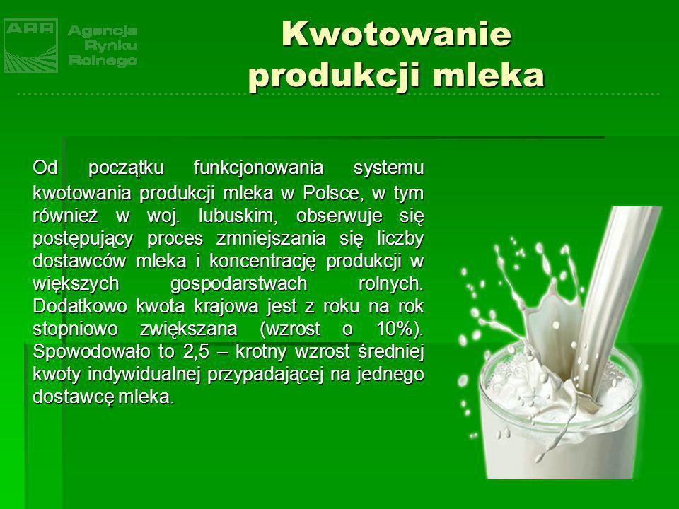 Od początku funkcjonowania systemu kwotowania produkcji mleka w Polsce, w tym również w woj. lubuskim, obserwuje się postępujący proces zmniejszania s