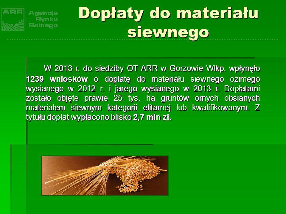 Dopłaty do materiału siewnego W 2013 r. do siedziby OT ARR w Gorzowie Wlkp. wpłynęło 1239 wniosków o dopłatę do materiału siewnego ozimego wysianego w