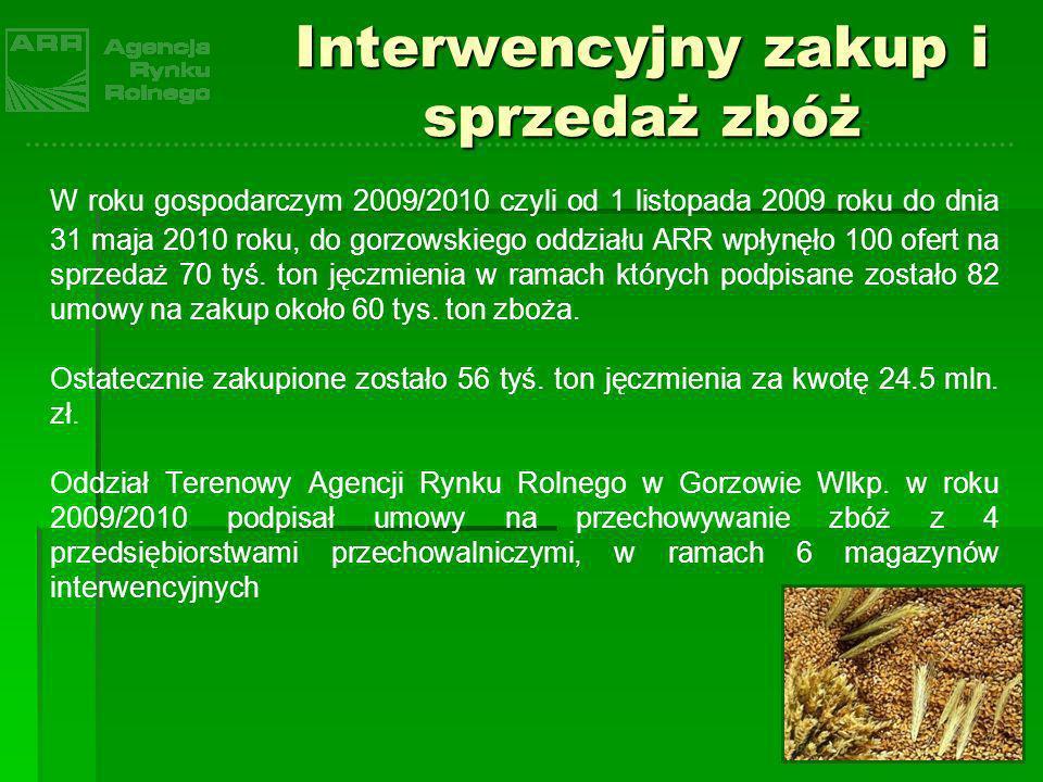 Interwencyjny zakup i sprzedaż zbóż W roku gospodarczym 2009/2010 czyli od 1 listopada 2009 roku do dnia 31 maja 2010 roku, do gorzowskiego oddziału A