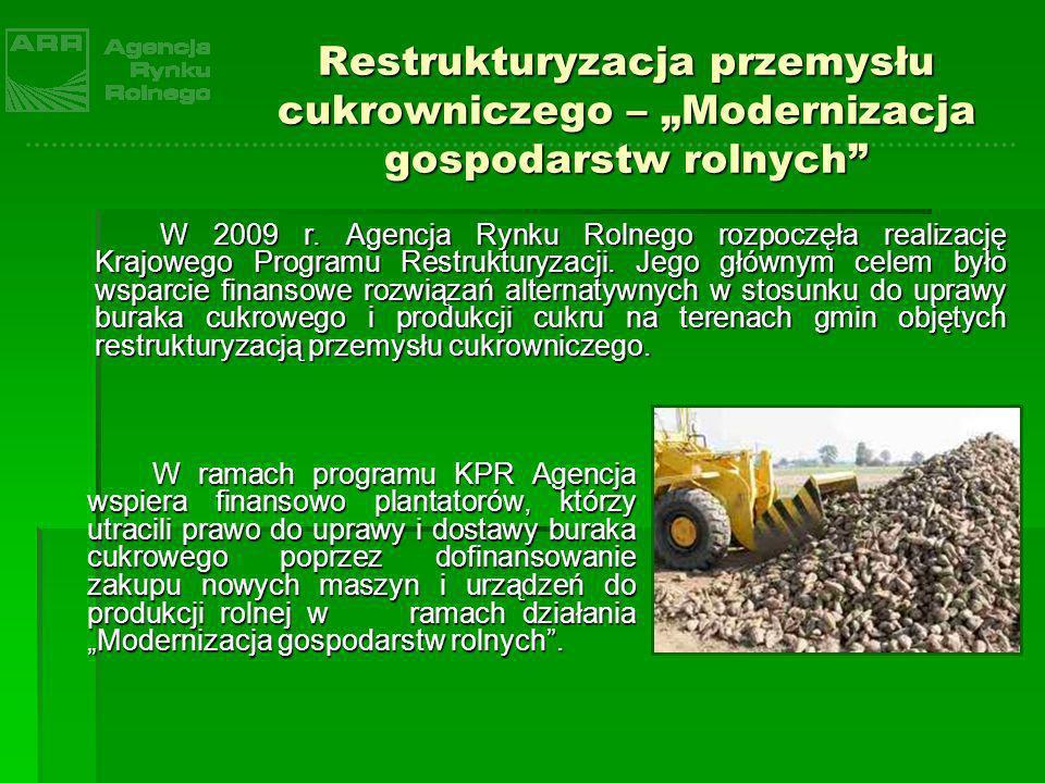 Restrukturyzacja przemysłu cukrowniczego – Modernizacja gospodarstw rolnych Do Oddziału Terenowego ARR w Gorzowie Wielkopolskim wpłynęło 49 wniosków o przyznanie pomocy w ramach mechanizmu Modernizacja gospodarstw rolnych na łączną kwotę prawie 2,4 mln zł, głównie z powiatów żagańskiego, wschowskiego, zielonogórskiego oraz nowosolskiego.