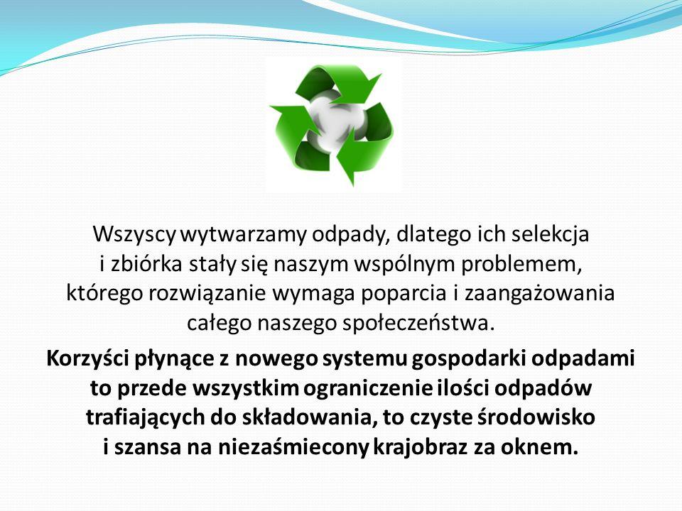 Wszyscy wytwarzamy odpady, dlatego ich selekcja i zbiórka stały się naszym wspólnym problemem, którego rozwiązanie wymaga poparcia i zaangażowania cał
