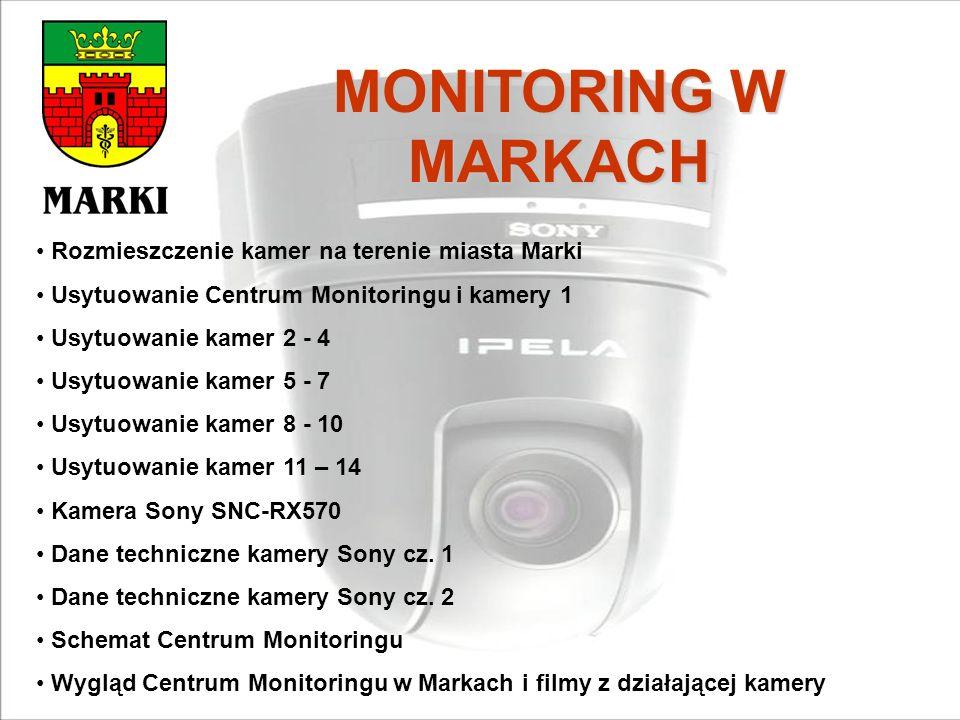 MONITORING W MARKACH Rozmieszczenie kamer na terenie miasta Marki Usytuowanie Centrum Monitoringu i kamery 1 Usytuowanie kamer 2 - 4 Usytuowanie kamer