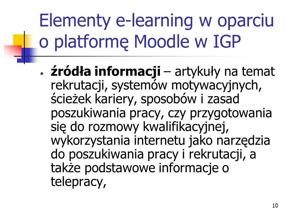 10 Elementy e-learning w oparciu o platformę Moodle w IGP źródła informacji – artykuły na temat rekrutacji, systemów motywacyjnych, ścieżek kariery, sposobów i zasad poszukiwania pracy, czy przygotowania się do rozmowy kwalifikacyjnej, wykorzystania internetu jako narzędzia do poszukiwania pracy i rekrutacji, a także podstawowe informacje o telepracy,