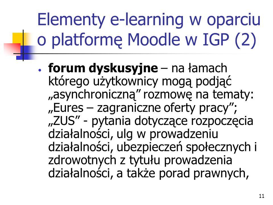 11 Elementy e-learning w oparciu o platformę Moodle w IGP (2) forum dyskusyjne – na łamach którego użytkownicy mogą podjąć asynchroniczną rozmowę na tematy: Eures – zagraniczne oferty pracy; ZUS - pytania dotyczące rozpoczęcia działalności, ulg w prowadzeniu działalności, ubezpieczeń społecznych i zdrowotnych z tytułu prowadzenia działalności, a także porad prawnych,