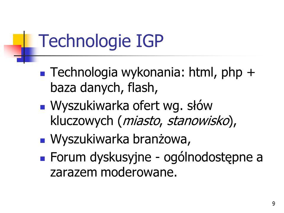 9 Technologie IGP Technologia wykonania: html, php + baza danych, flash, Wyszukiwarka ofert wg.