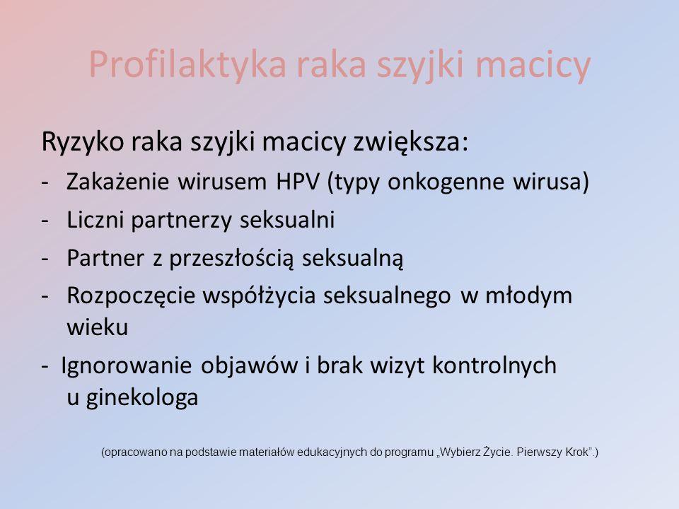 Profilaktyka raka szyjki macicy Ryzyko raka szyjki macicy zwiększa: -Zakażenie wirusem HPV (typy onkogenne wirusa) -Liczni partnerzy seksualni -Partne
