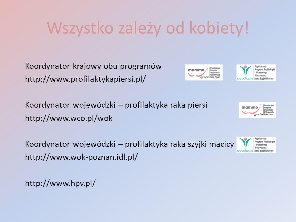 Wszystko zależy od kobiety! Koordynator krajowy obu programów http://www.profilaktykapiersi.pl/ Koordynator wojewódzki – profilaktyka raka piersi http