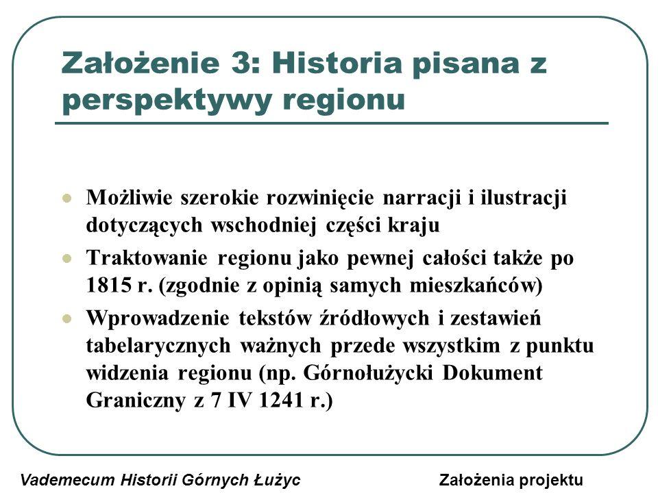 Założenie 3: Historia pisana z perspektywy regionu Możliwie szerokie rozwinięcie narracji i ilustracji dotyczących wschodniej części kraju Traktowanie regionu jako pewnej całości także po 1815 r.