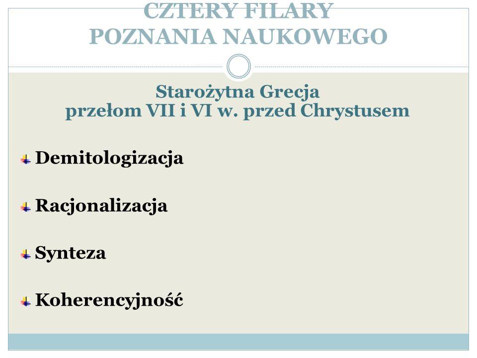 CZTERY FILARY POZNANIA NAUKOWEGO Starożytna Grecja przełom VII i VI w. przed Chrystusem Demitologizacja Racjonalizacja Synteza Koherencyjność