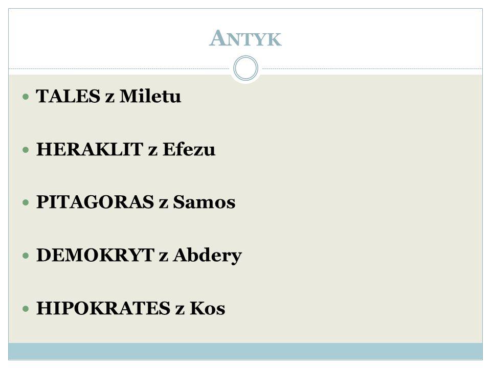 A NTYK TALES z Miletu HERAKLIT z Efezu PITAGORAS z Samos DEMOKRYT z Abdery HIPOKRATES z Kos