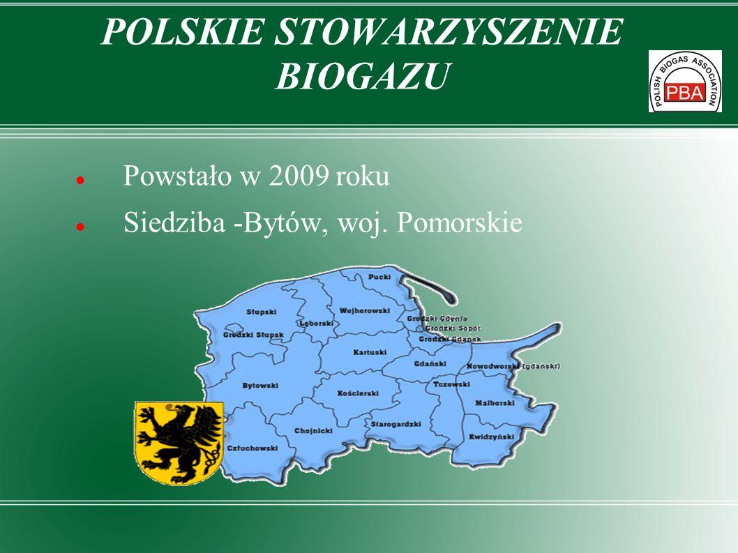 POLSKIE STOWARZYSZENIE BIOGAZU Powstało w 2009 roku Siedziba -Bytów, woj. Pomorskie