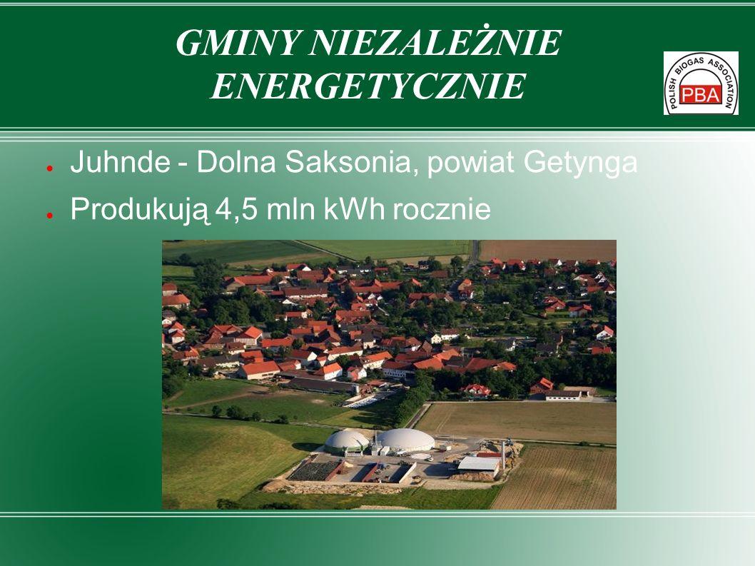 Juhnde - Dolna Saksonia, powiat Getynga Produkują 4,5 mln kWh rocznie GMINY NIEZALEŻNIE ENERGETYCZNIE