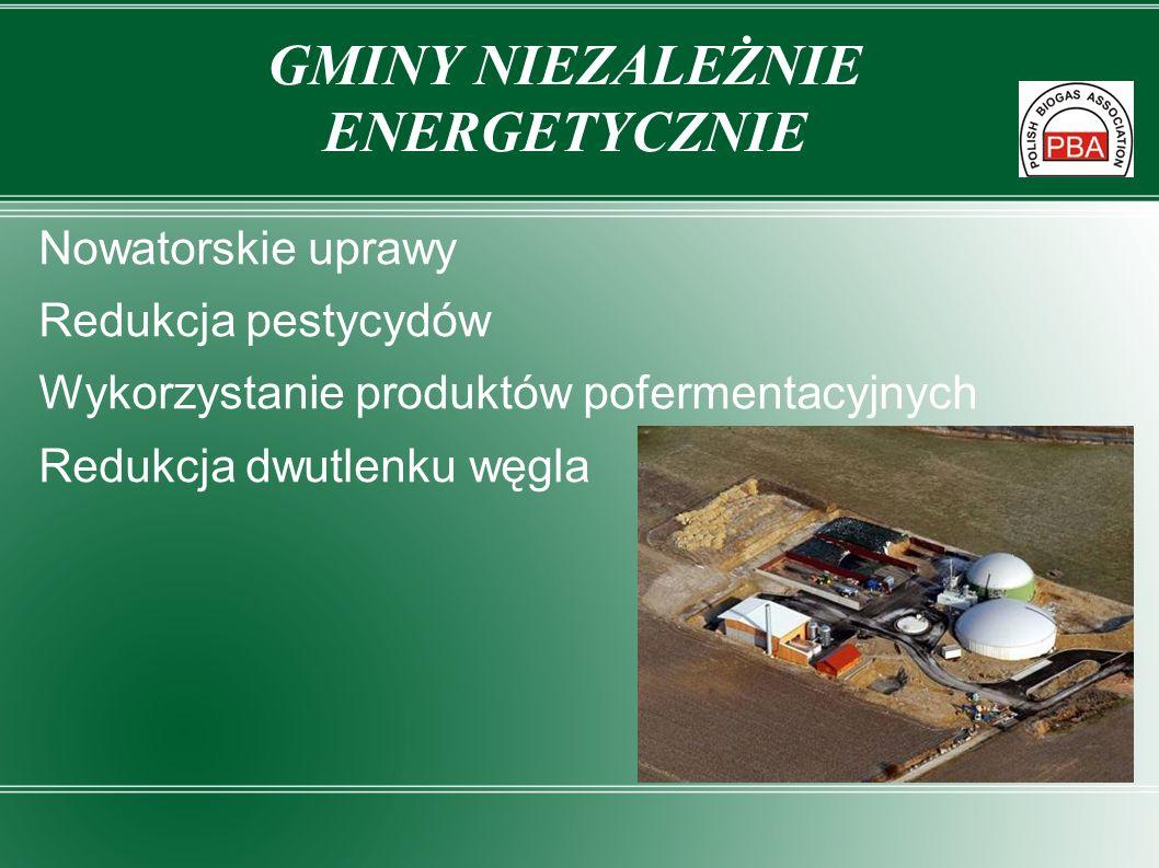 Nowatorskie uprawy Redukcja pestycydów Wykorzystanie produktów pofermentacyjnych Redukcja dwutlenku węgla GMINY NIEZALEŻNIE ENERGETYCZNIE
