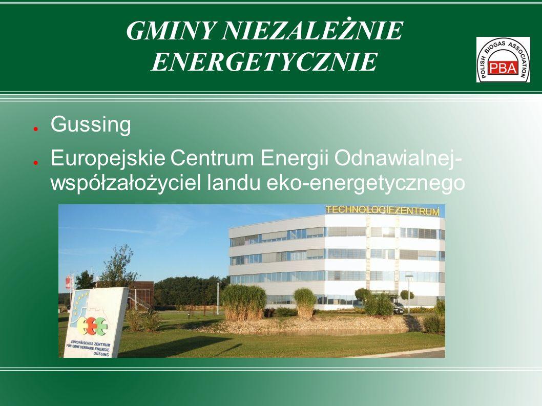 Gussing Europejskie Centrum Energii Odnawialnej- współzałożyciel landu eko-energetycznego GMINY NIEZALEŻNIE ENERGETYCZNIE