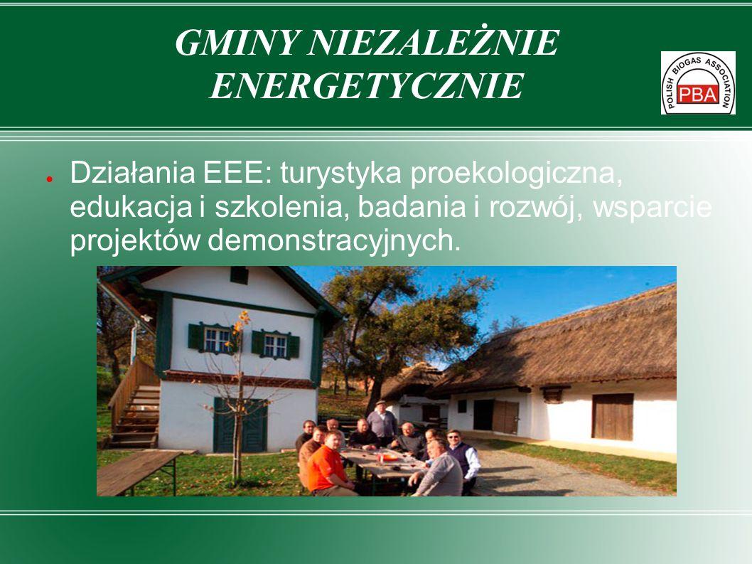 Działania EEE: turystyka proekologiczna, edukacja i szkolenia, badania i rozwój, wsparcie projektów demonstracyjnych. GMINY NIEZALEŻNIE ENERGETYCZNIE