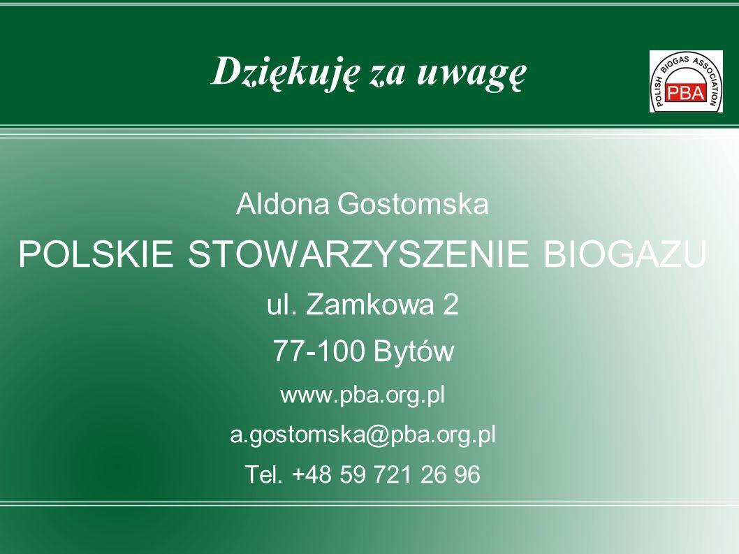 Dziękuję za uwagę Aldona Gostomska POLSKIE STOWARZYSZENIE BIOGAZU ul. Zamkowa 2 77-100 Bytów www.pba.org.pl a.gostomska@pba.org.pl Tel. +48 59 721 26