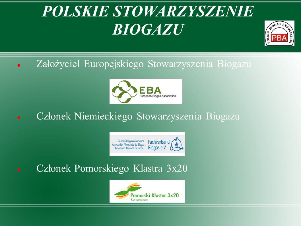 POLSKIE STOWARZYSZENIE BIOGAZU Założyciel Europejskiego Stowarzyszenia Biogazu Członek Niemieckiego Stowarzyszenia Biogazu Członek Pomorskiego Klastra