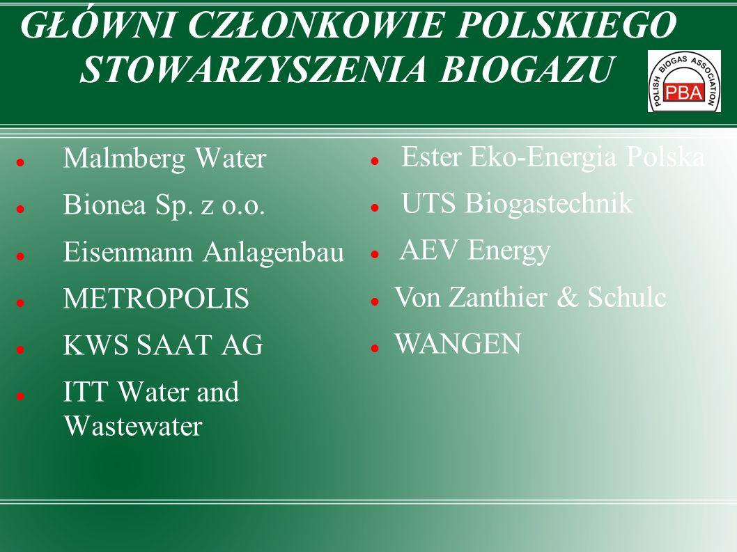 GŁÓWNI CZŁONKOWIE POLSKIEGO STOWARZYSZENIA BIOGAZU Malmberg Water Bionea Sp. z o.o. Eisenmann Anlagenbau METROPOLIS KWS SAAT AG ITT Water and Wastewat