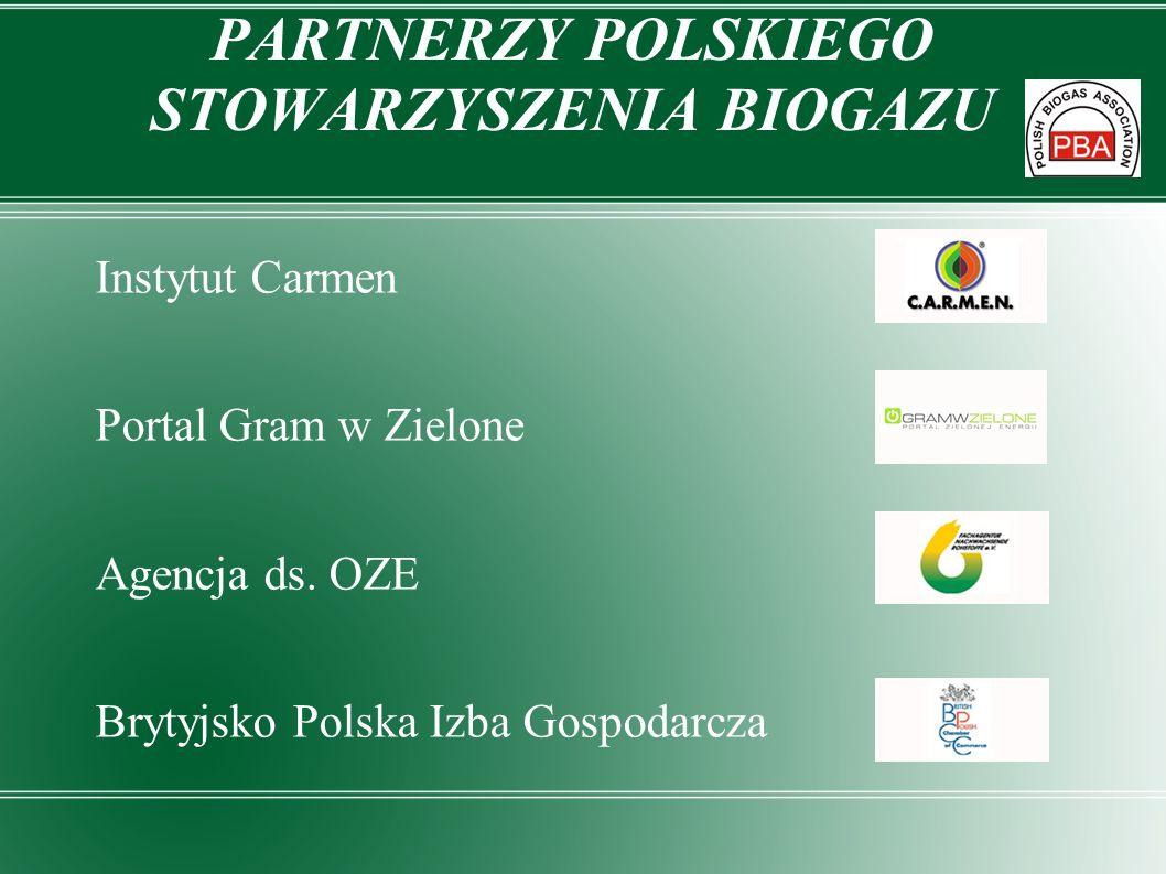 PARTNERZY POLSKIEGO STOWARZYSZENIA BIOGAZU Instytut Carmen Portal Gram w Zielone Agencja ds. OZE Brytyjsko Polska Izba Gospodarcza