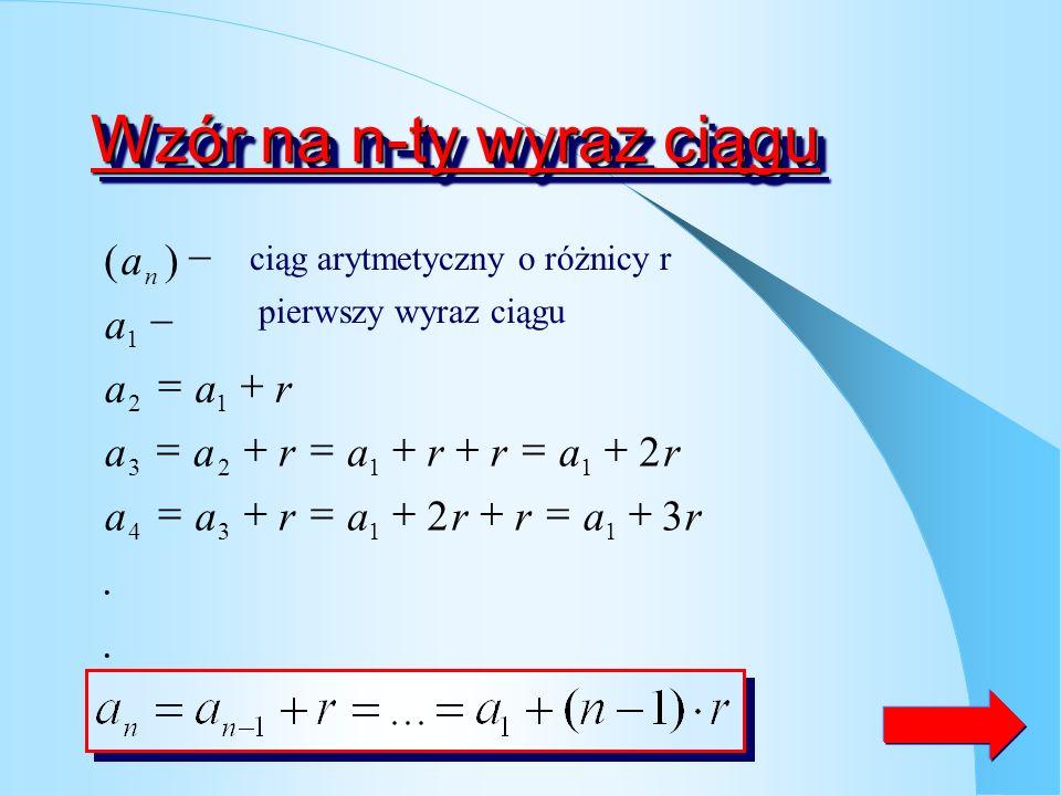 ZadanieZadanie Sprawdź czy podany ciąg jest arytmetyczny Obliczam wyraz Sprawdzam różnice Odp. Różnica dwóch kolejnych wyrazów ciągu jest stałą liczbą