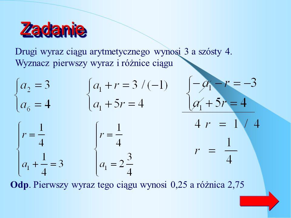 Wzór na n-ty wyraz ciągu.. 32 2 )( 1134 1123 12 1 rarraraa rarraraa raa a a n ciąg arytmetyczny o różnicy r pierwszy wyraz ciągu