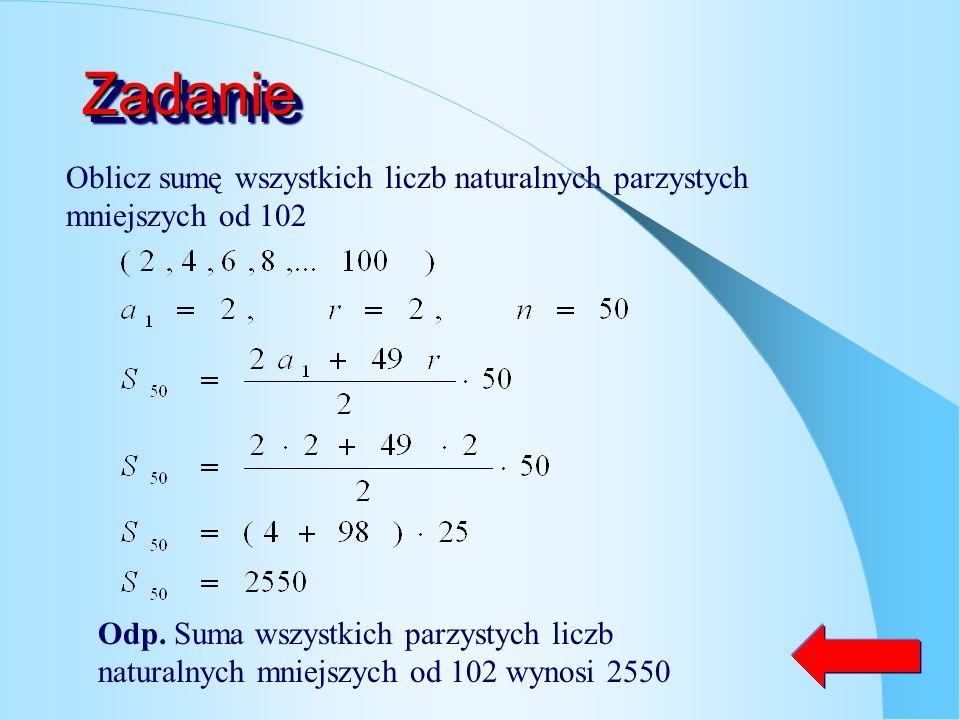 Suma n-początkowych wyrazów ciągu ciąg arytmetyczny o różnicy r