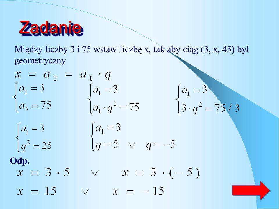 Wzór na n-ty wyraz ciągu ciąg geometryczny o ilorazie q pierwszy wyraz ciągu