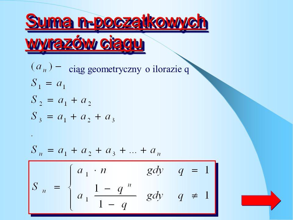 ZadanieZadanie Między liczby 3 i 75 wstaw liczbę x, tak aby ciąg (3, x, 45) był geometryczny Odp.