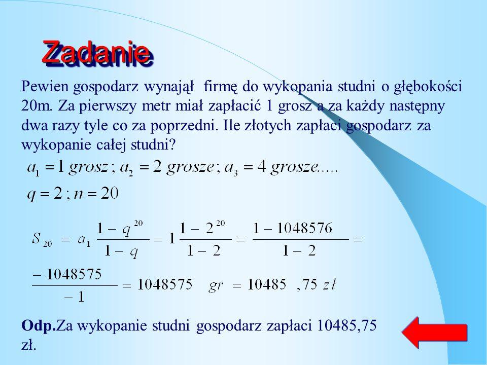 Suma n-początkowych wyrazów ciągu ciąg geometryczny o ilorazie q