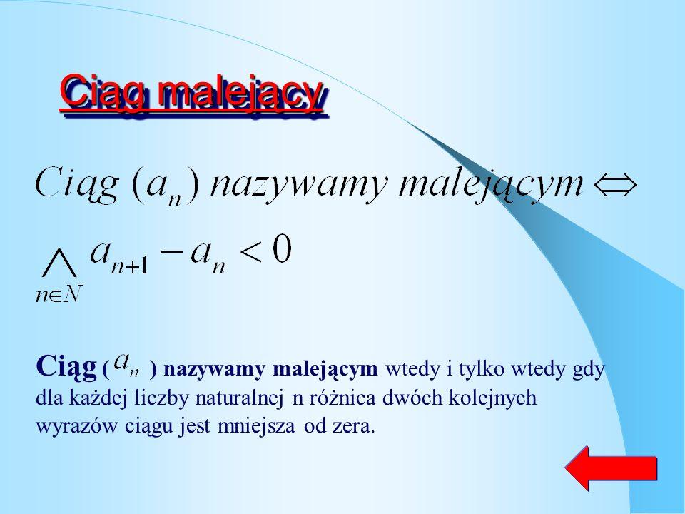 Ciąg rosnący Ciąg ( ) nazywamy rosnącym wtedy i tylko wtedy gdy dla każdej liczby naturalnej n różnica dwóch kolejnych wyrazów ciągu jest większa od z